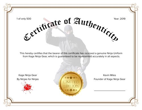 Certificate of Authenticity Kage Uniforms